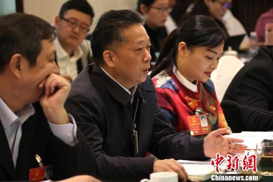 图为全国人大代表、南昌航空大学校长罗胜联在会上发言。 刘占昆 摄